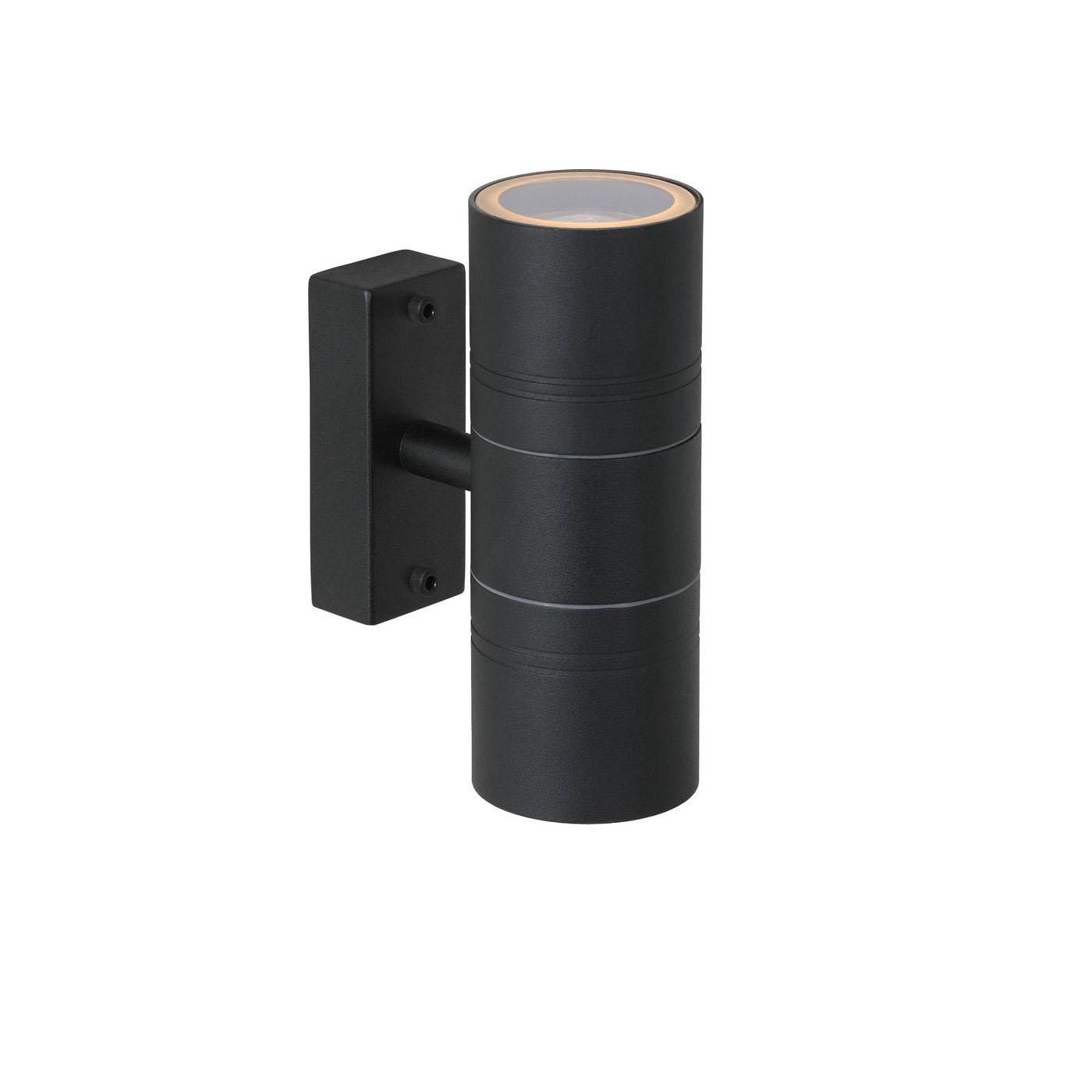 Wandlamp zwart 2 keer GU10 fitting - Zijkant lamp aan