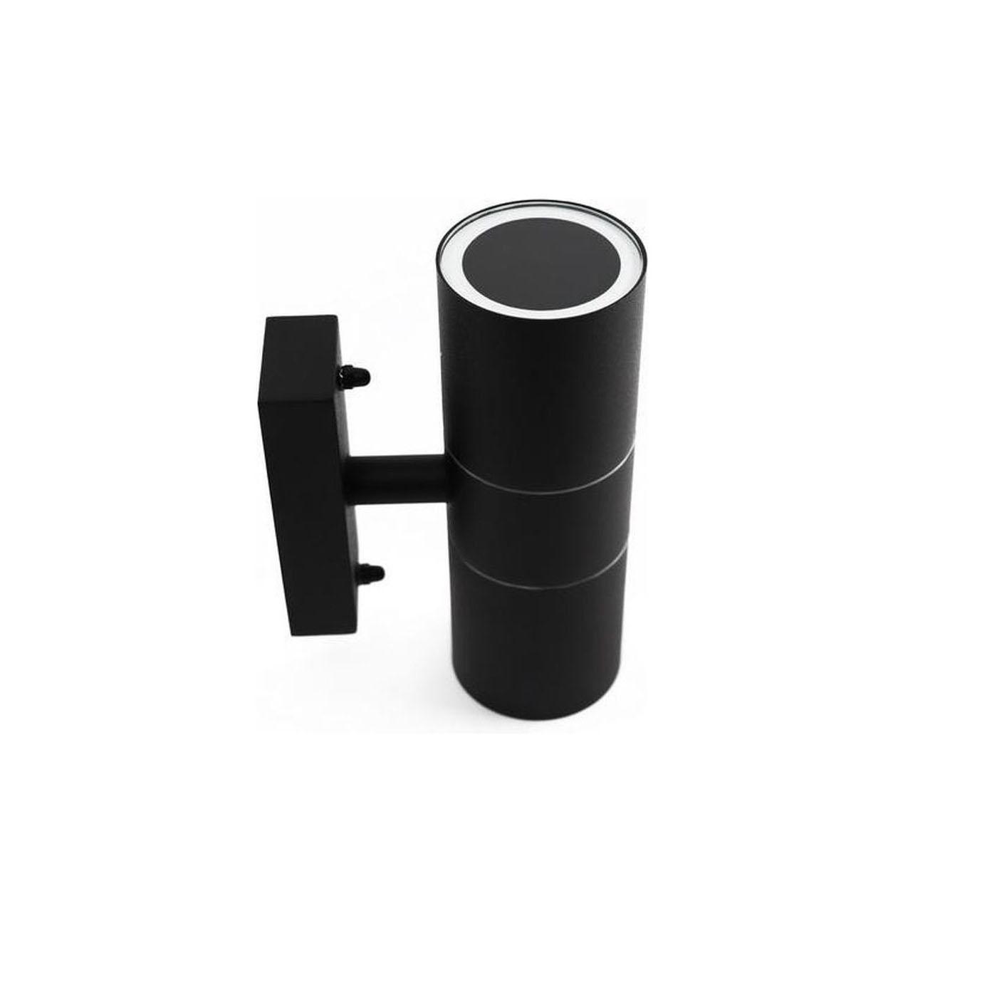 Wandlamp zwart 2 keer GU10 fitting - zijaanzicht