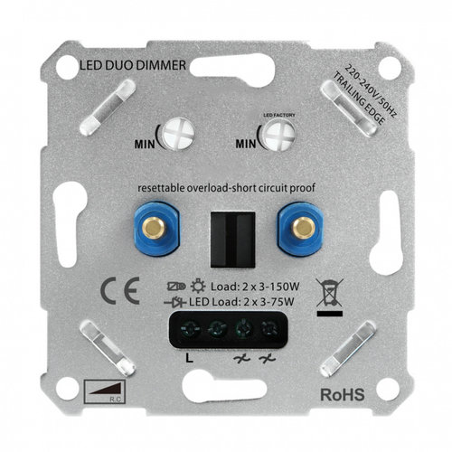 Duo led dimmer 2x 75 watt - 220-240V fase afsnijding