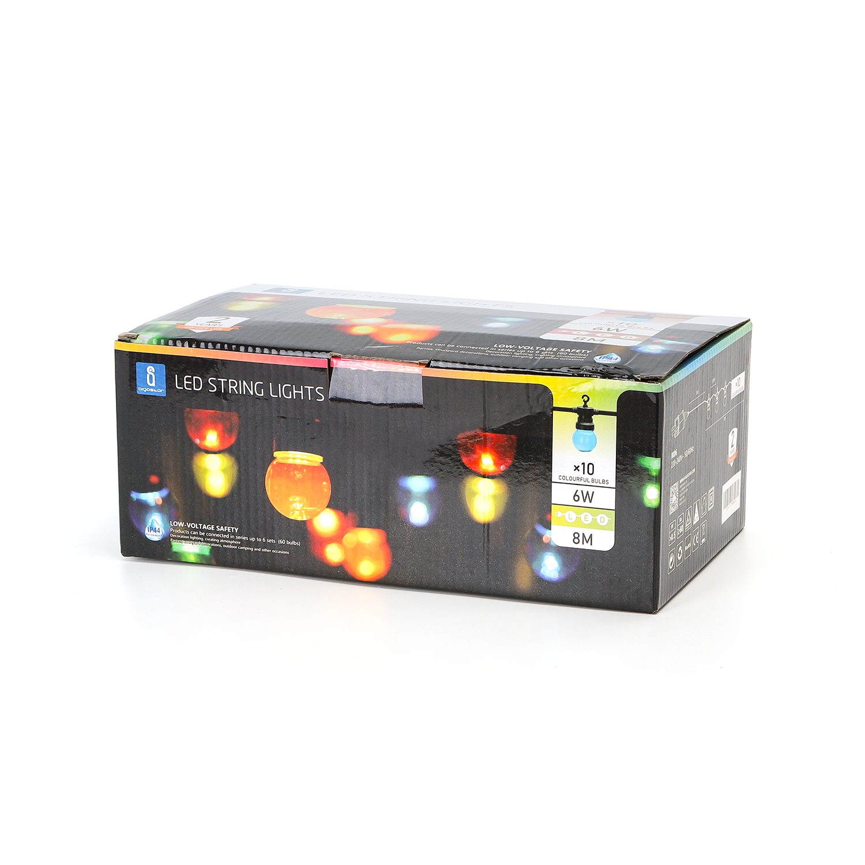 Lichtslinger - lichtsnoer - feestverlichting - prikkabel met gekleurde lampen - incl. 10x LED lampen - 8 meter - verpakking