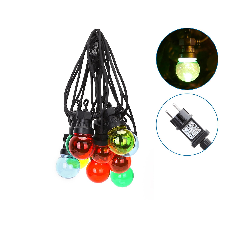 Lichtslinger - lichtsnoer - feestverlichting - prikkabel met gekleurde lampen - incl. 10x LED lampen - 8 meter - waterdicht