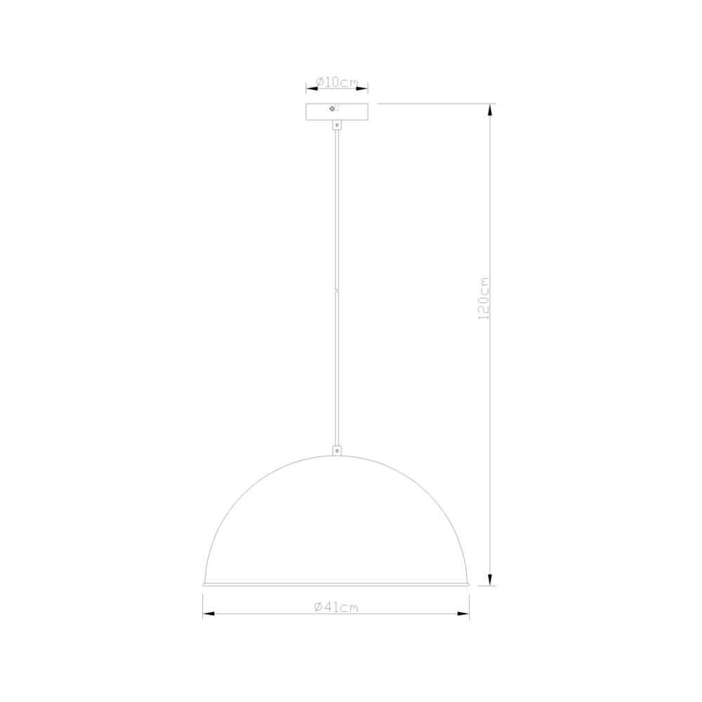 Masqat-Industriële hanglamp-cementlook-E27 fitting-afmetingen
