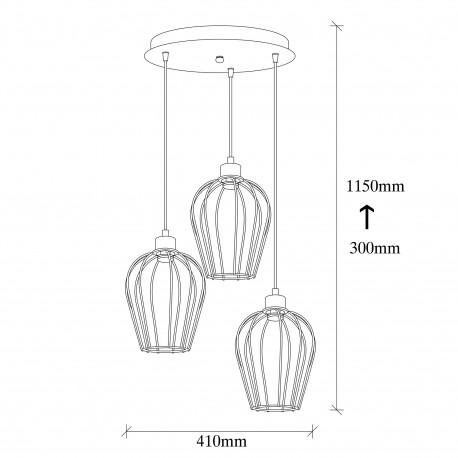Metalen hanglamp industrieel metaal korf vorm afmetingen