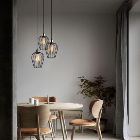 Metalen hanglamp industrieel metaal korf vorm sfeerfoto