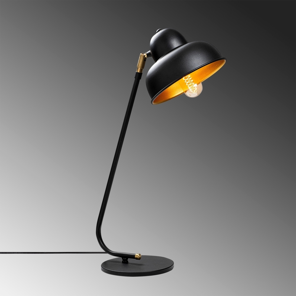 Moderne Bureaulamp - tafellamp - kantelbaar - E27 fitting - zwart met goud - sfeerfoto