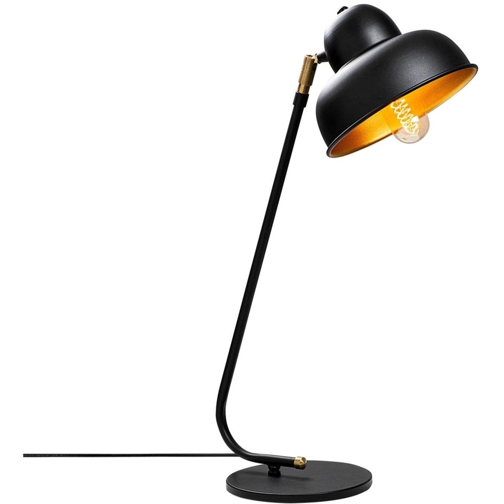 Moderne Bureaulamp - tafellamp - kantelbaar - E27 fitting - zwart met goud - vooraanzicht