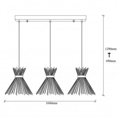 Landelijke 3 dubbele hanglamp metaal zwart E27 - afmetingen
