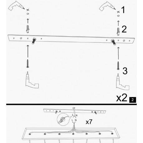 Landelijke 3 dubbele hanglamp metaal zwart E27 - installatie