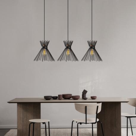 Landelijke 3 dubbele hanglamp metaal zwart E27 - sfeerfoto