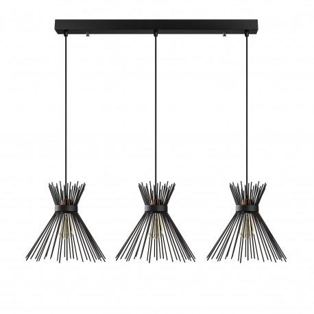 Landelijke 3 dubbele hanglamp metaal zwart E27