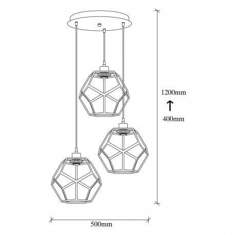 Moderne 3-voudige E27 hanglamp metaal zwart met brons - afmetingen