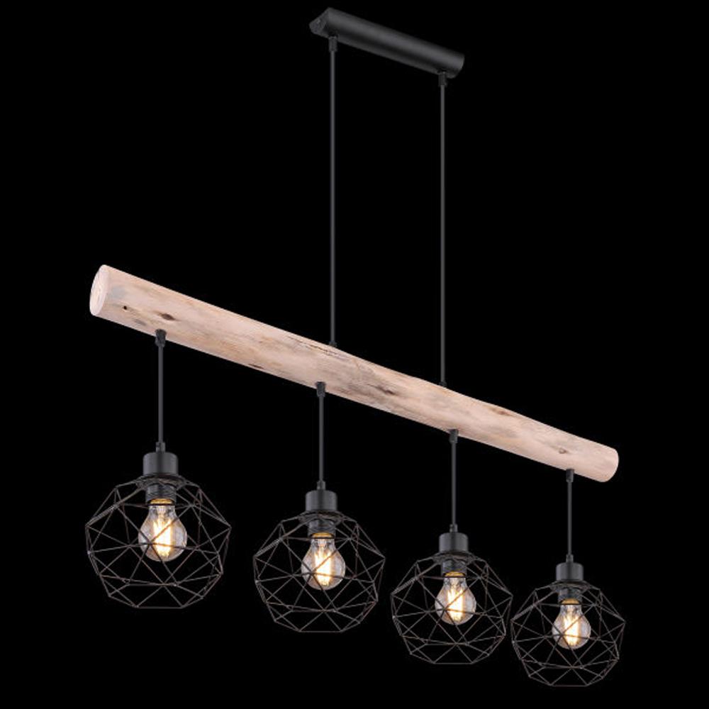 Moderne Hanglamp | 4x E27 fitting Zwart metaal Lioni - schuin donkere achtergrond