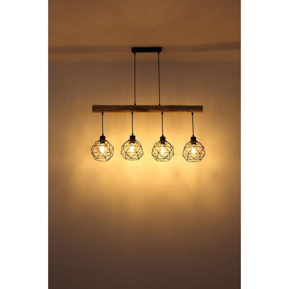 Moderne Hanglamp | 4x E27 fitting Zwart metaal Lioni - sfeerfoto lamp aan