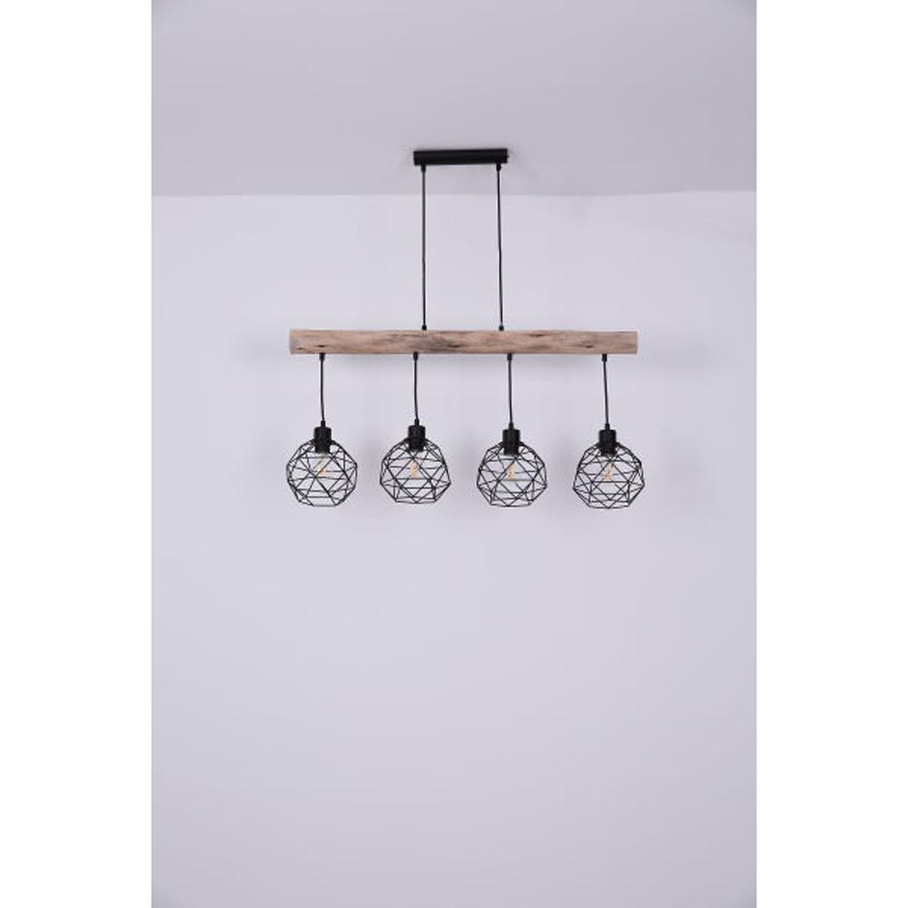 Moderne Hanglamp | 4x E27 fitting Zwart metaal Lioni - vooraanzicht sfeerfoto lampen uit
