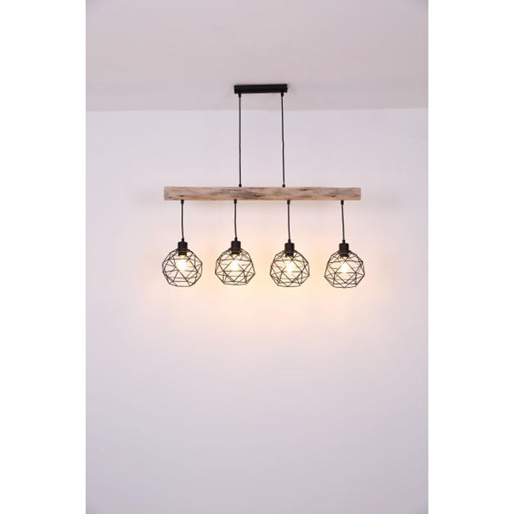 Moderne Hanglamp | 4x E27 fitting Zwart metaal Lioni - sfeerfoto lampen aan