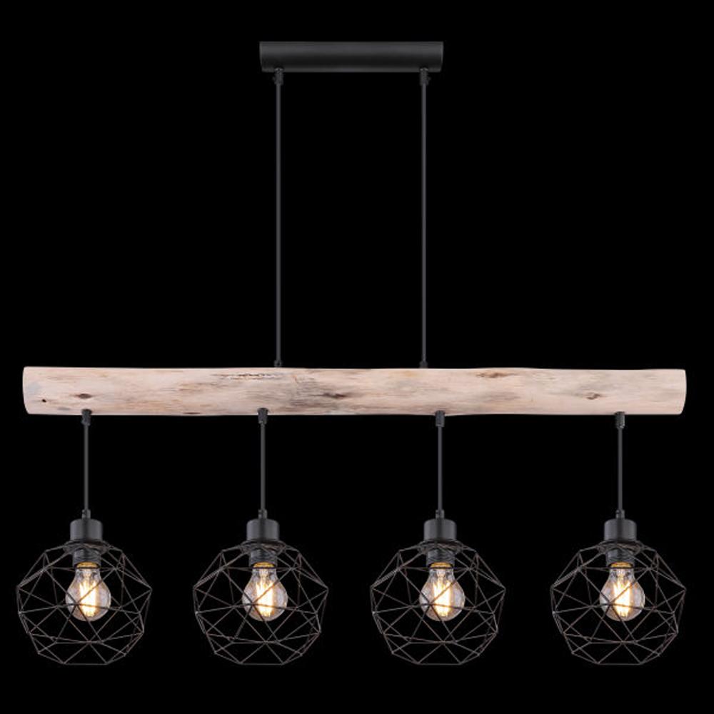 Moderne Hanglamp | 4x E27 fitting Zwart metaal Lioni - vooraanzicht donkere achtergrond