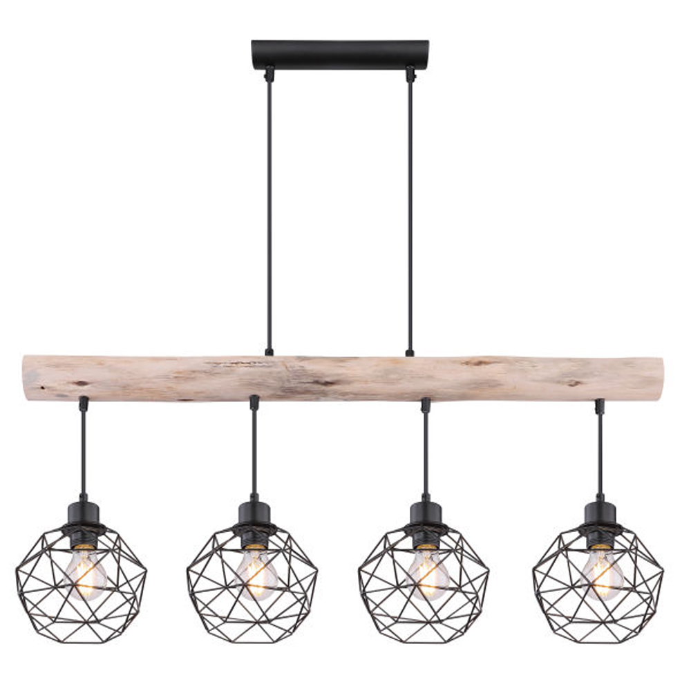 Moderne Hanglamp | 4x E27 fitting Zwart metaal Lioni - vooraanzicht lampen aan