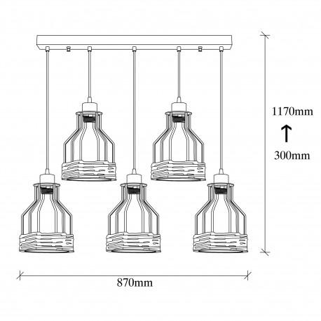 Landelijke hanglamp metalen korf met touw zwart - afmetingen