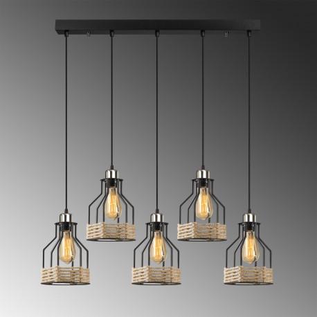 Landelijke hanglamp metalen korf met touw zwart 5x E27