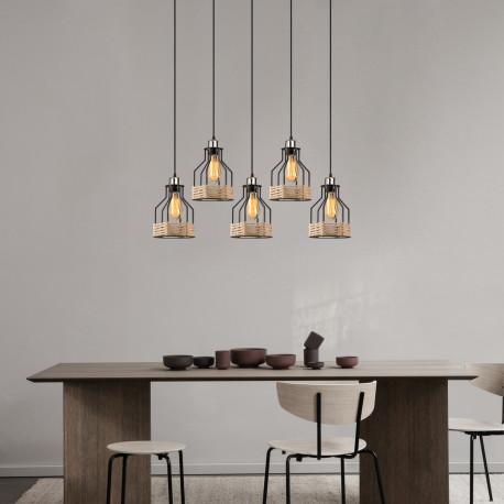 Landelijke hanglamp metalen korf met touw zwart - sfeerfoto
