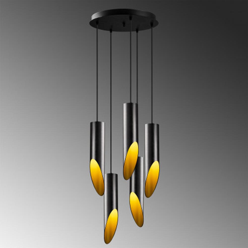 Moderne hanglamp zwart goud 5 x E27 fitting - grijze achtergrond