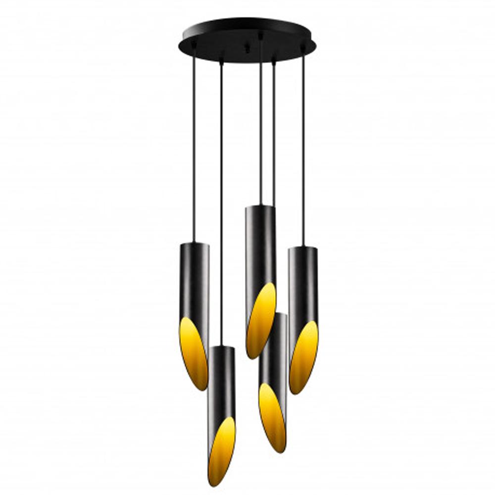 Moderne hanglamp zwart goud 5 x E27 fitting - vooraanzicht lamp aan