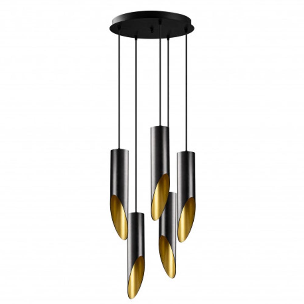 Moderne hanglamp zwart goud 5 x E27 fitting - vooraanzicht lampen uit