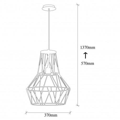 Moderne hanglamp met zwart industrieel metalen look - afmetingen