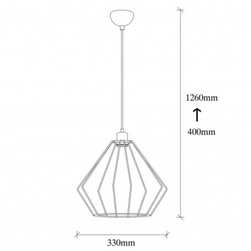 Moderne metalen hanglamp enkel zwart met aluminium - afmetingen