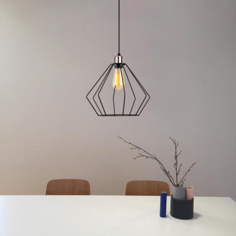 Moderne metalen hanglamp enkel zwart met aluminium - sfeerfoto