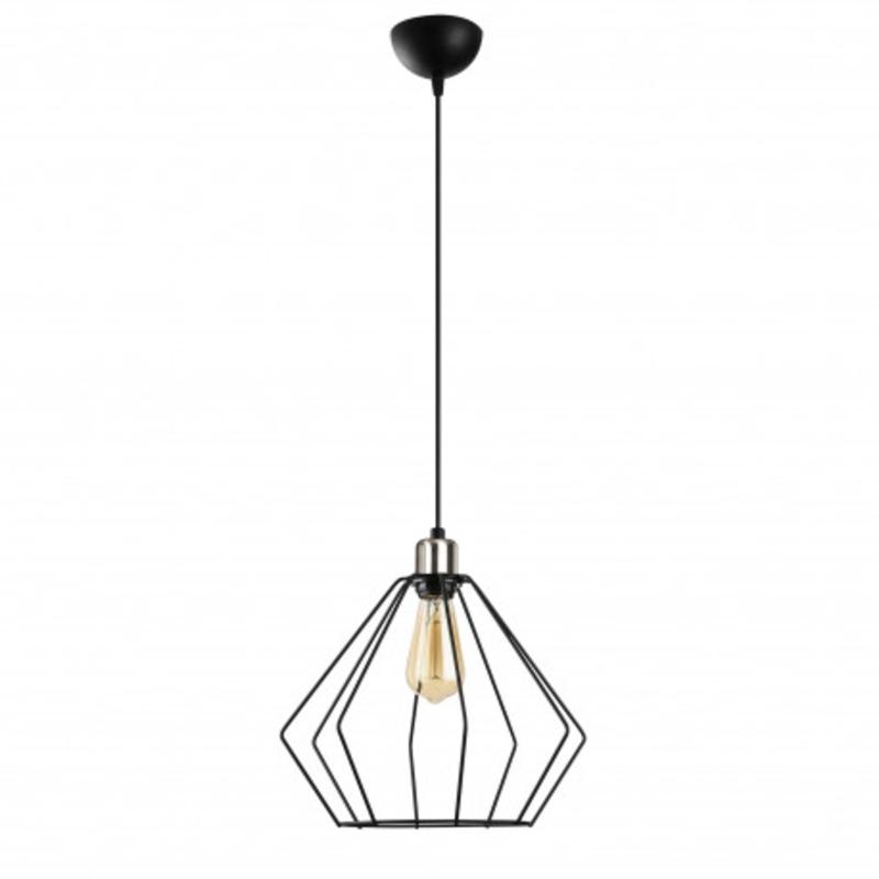 Moderne metalen hanglamp enkel zwart met aluminium