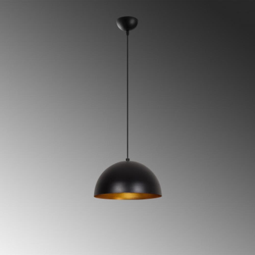 Hanglamp zwart goud modern 1 x E27 fitting - grijze achtergrond
