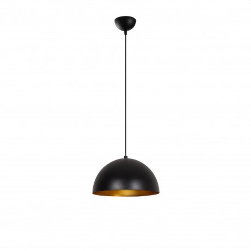 Hanglamp zwart goud modern 1 x E27 fitting - vooraanzicht lamp aan