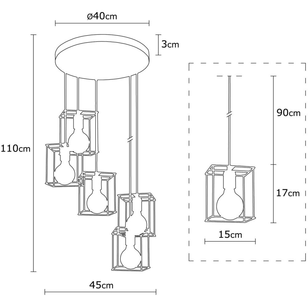 Moderne Hanglamp vierkant 5 x E27 fitting - Zwart _ koper _ Livero - afmetingen