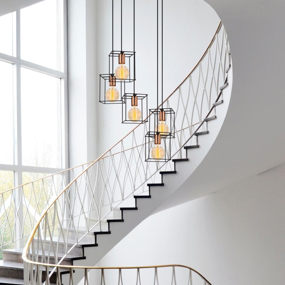 Moderne Hanglamp vierkant 5 x E27 fitting - Zwart _ koper _ Livero - sfeerfoto