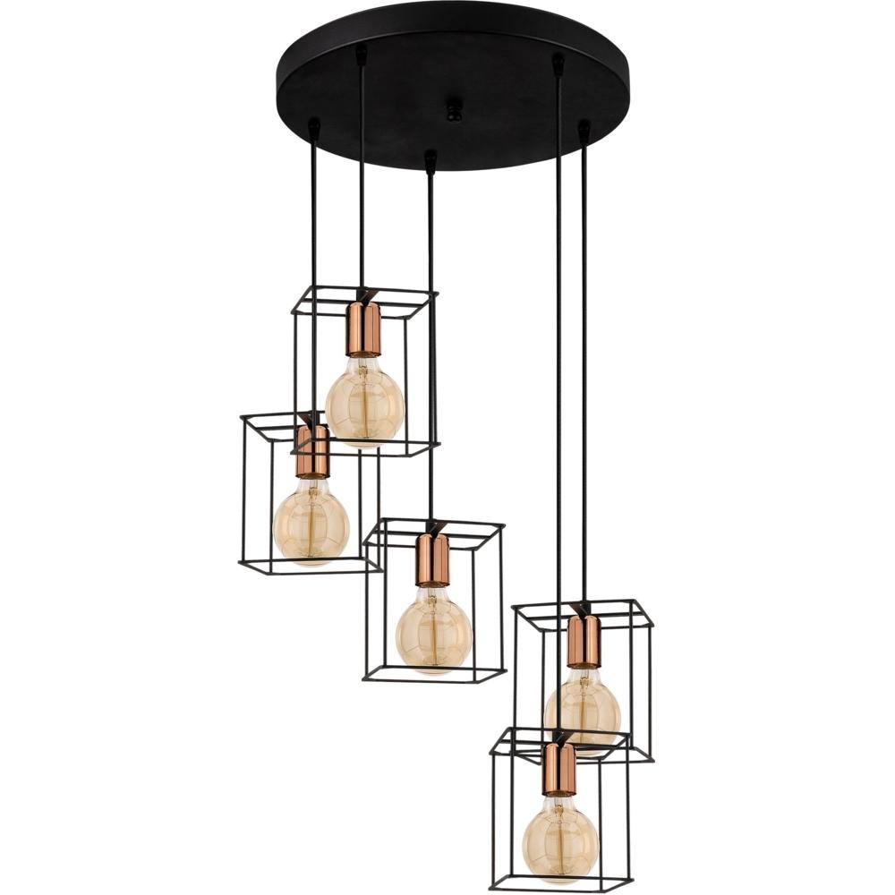 Moderne Hanglamp vierkant 5 x E27 fitting - Zwart _ koper _ Livero - voorkant