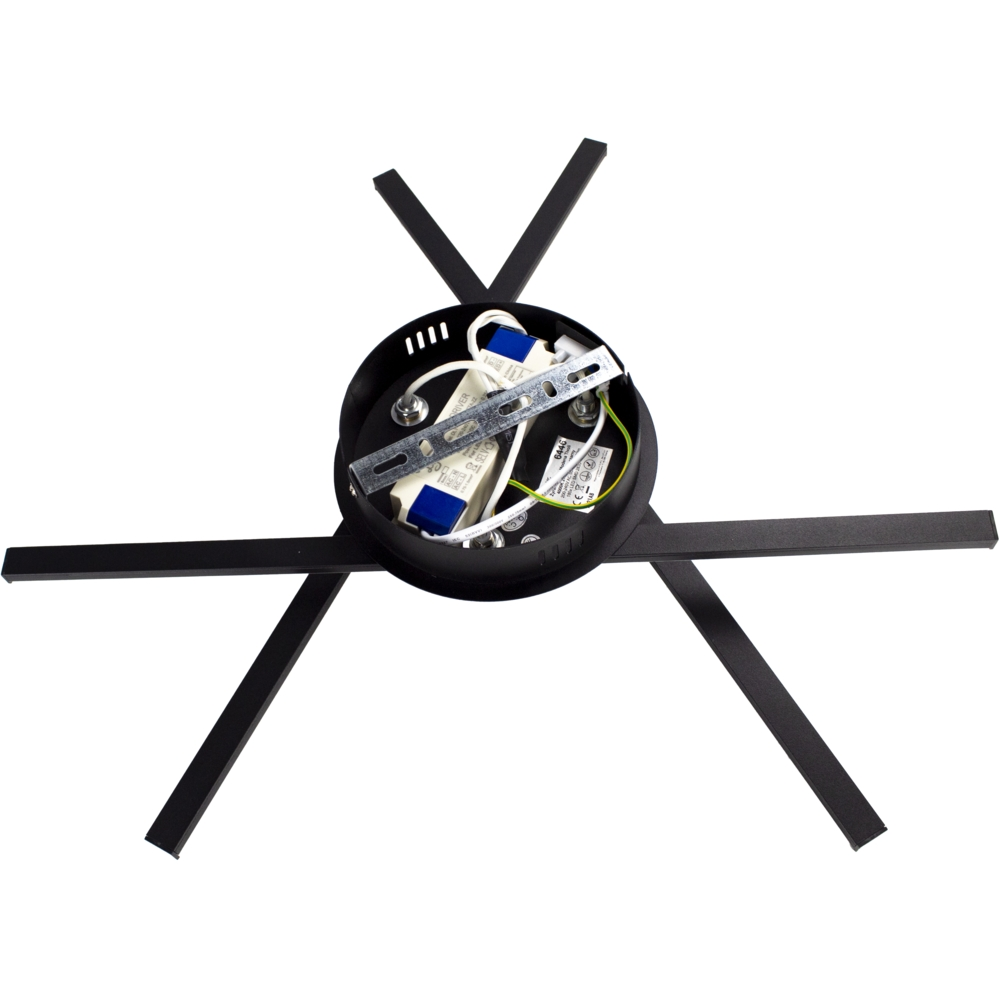 Moderne LED Plafondlamp zwart - met 3 draaibare staven - 27 watt - 4000K naturel wit - achteraanzicht