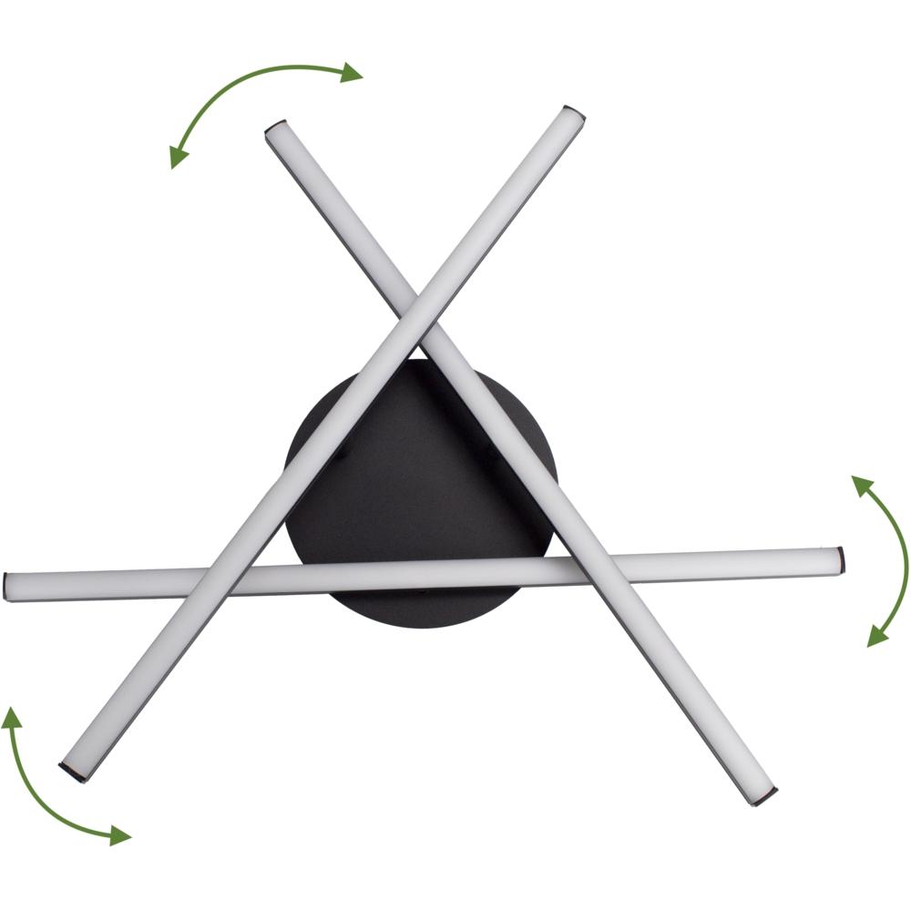 Moderne LED Plafondlamp zwart - met 3 draaibare staven - 27 watt - 4000K naturel wit - draaibaar