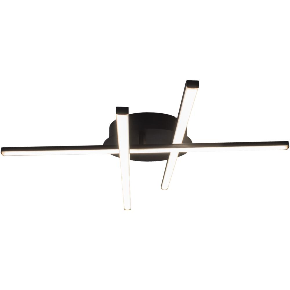Moderne LED Plafondlamp zwart - met 3 draaibare staven - 27 watt - 4000K naturel wit - lamp aan