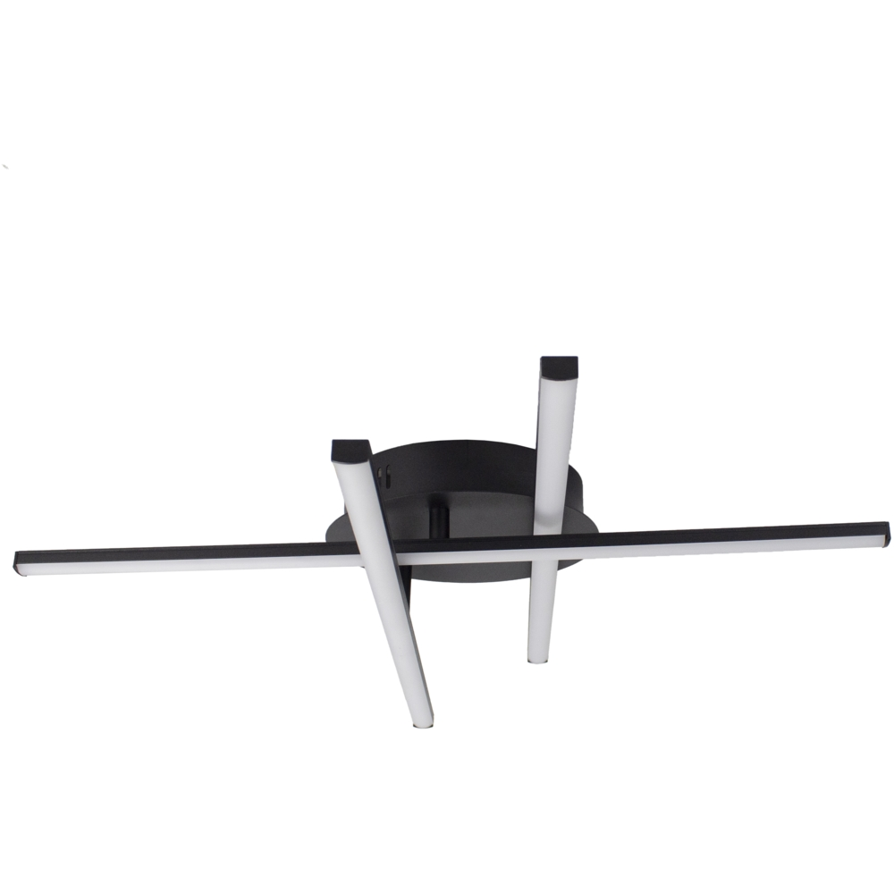 Moderne LED Plafondlamp zwart - met 3 draaibare staven - 27 watt - 4000K naturel wit - voorkant