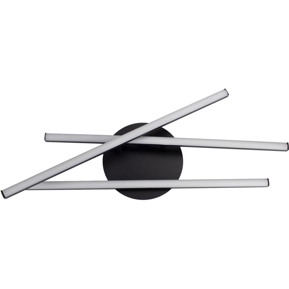 Moderne LED Plafondlamp zwart - met 3 draaibare staven - 27 watt - 4000K naturel wit - voorkant gedraait