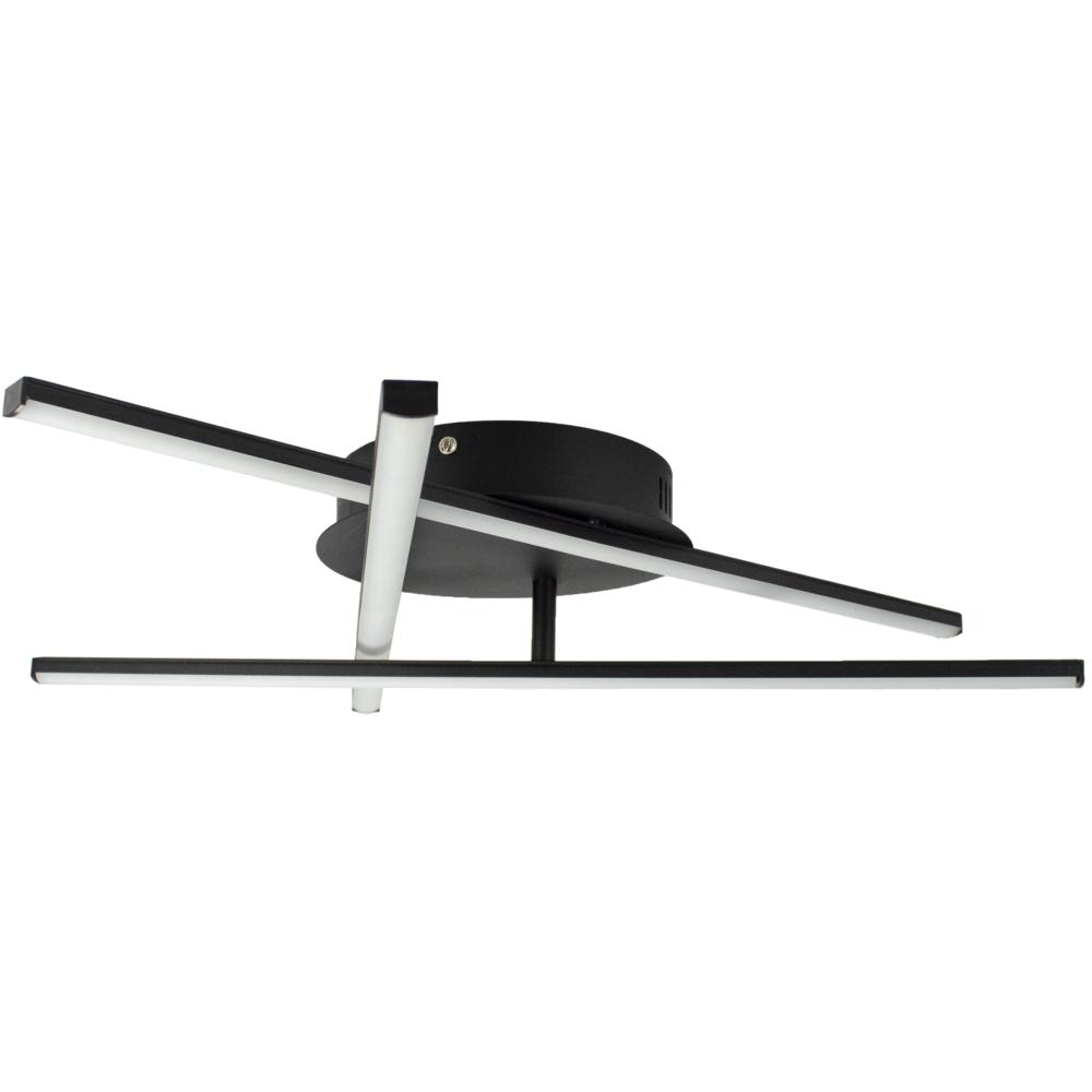 Moderne LED Plafondlamp zwart - met 3 draaibare staven - 27 watt - 4000K naturel wit - zijaanzicht