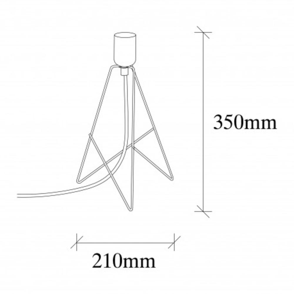 Tafellamp modern zwart koper - Afmetingen