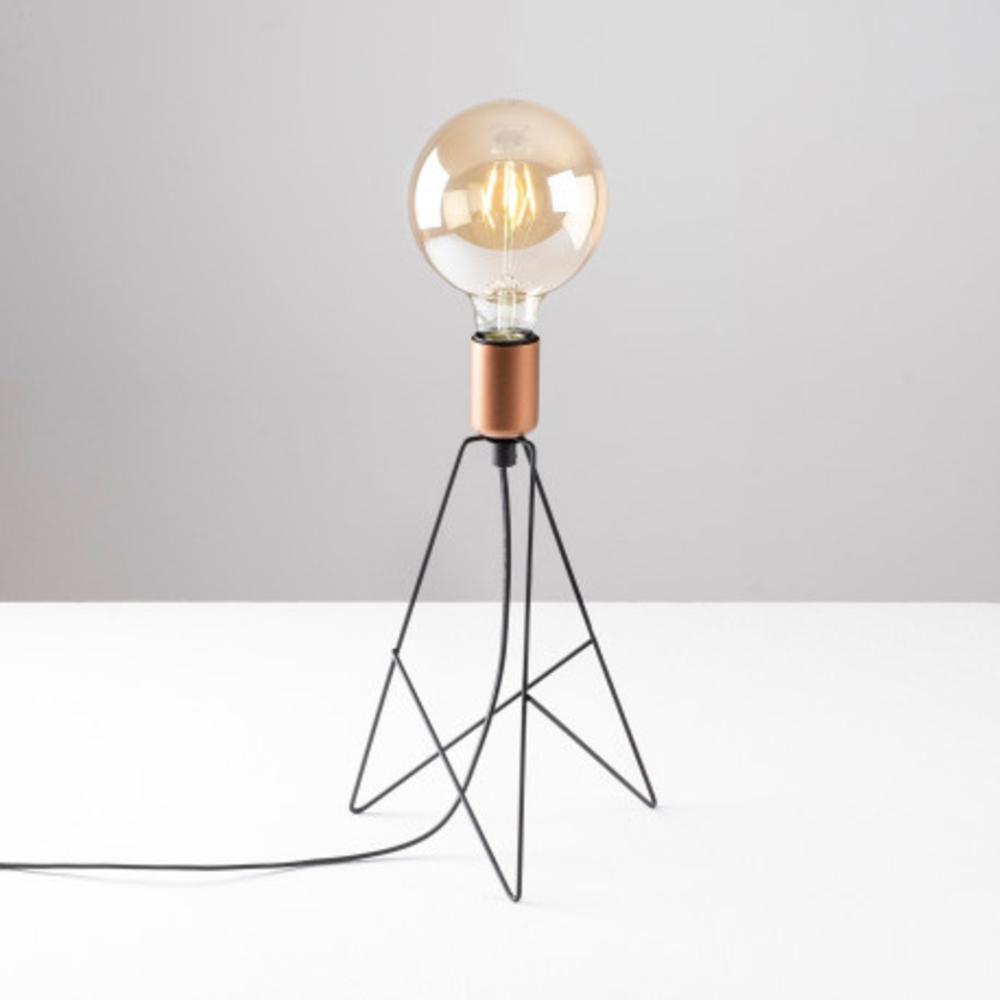 Tafellamp modern zwart koper - Sfeerfoto