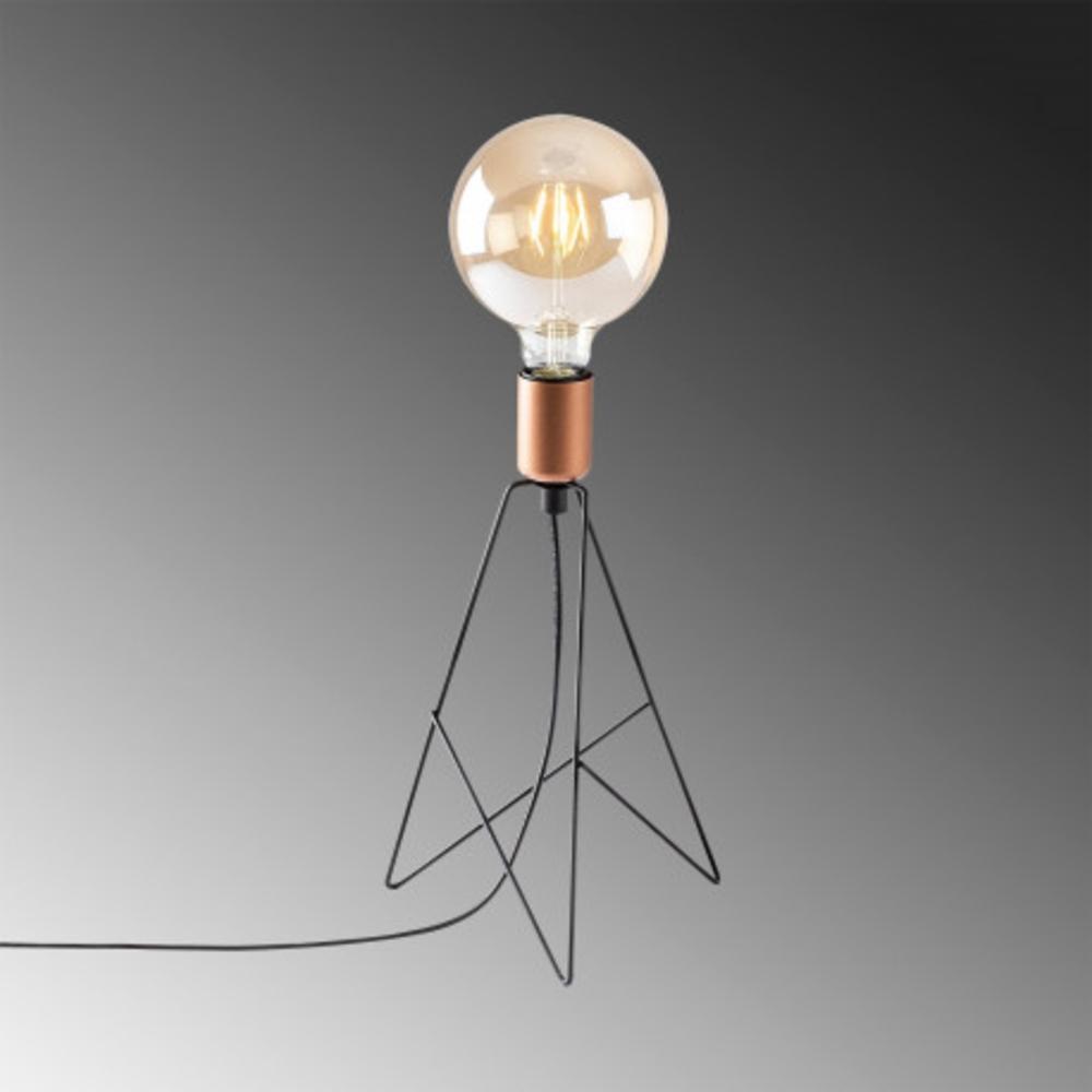 Tafellamp modern zwart koper - Grijze achtergrond