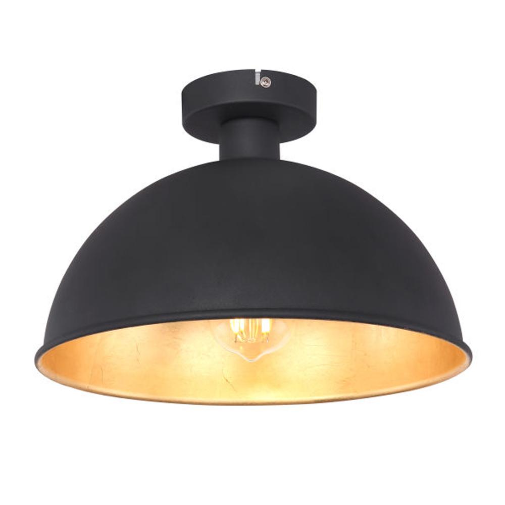 Moderne plafondlamp zwart goud E27 fitting - vooraanzicht lamp aan