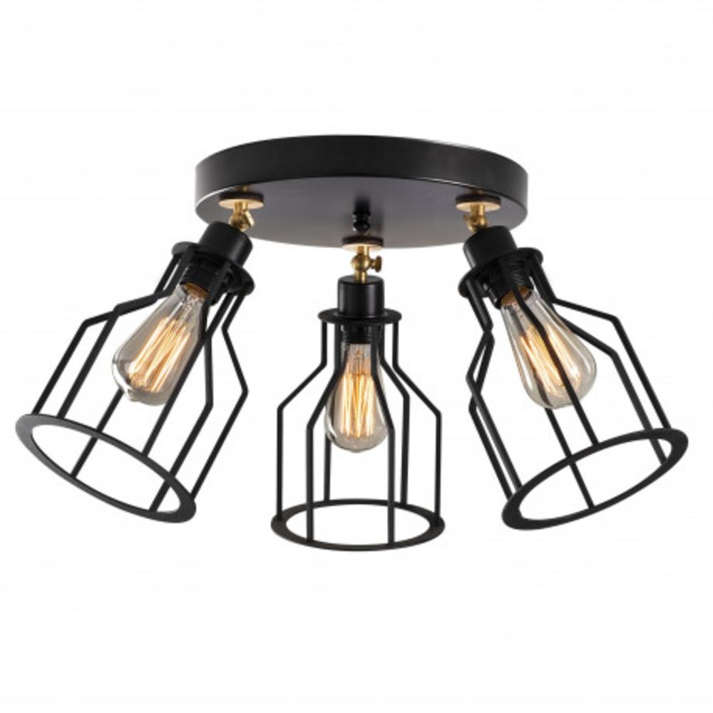 Moderne plafondlamp 3 x een E27 fitting zwart - vooraanzicht lampen aan