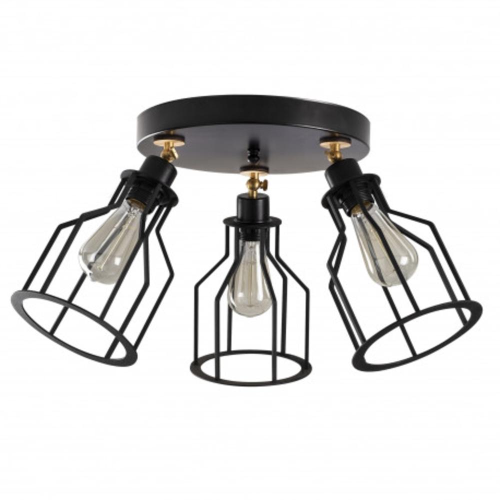 Moderne plafondlamp 3 x een E27 fitting zwart - vooraanzicht lampen uit