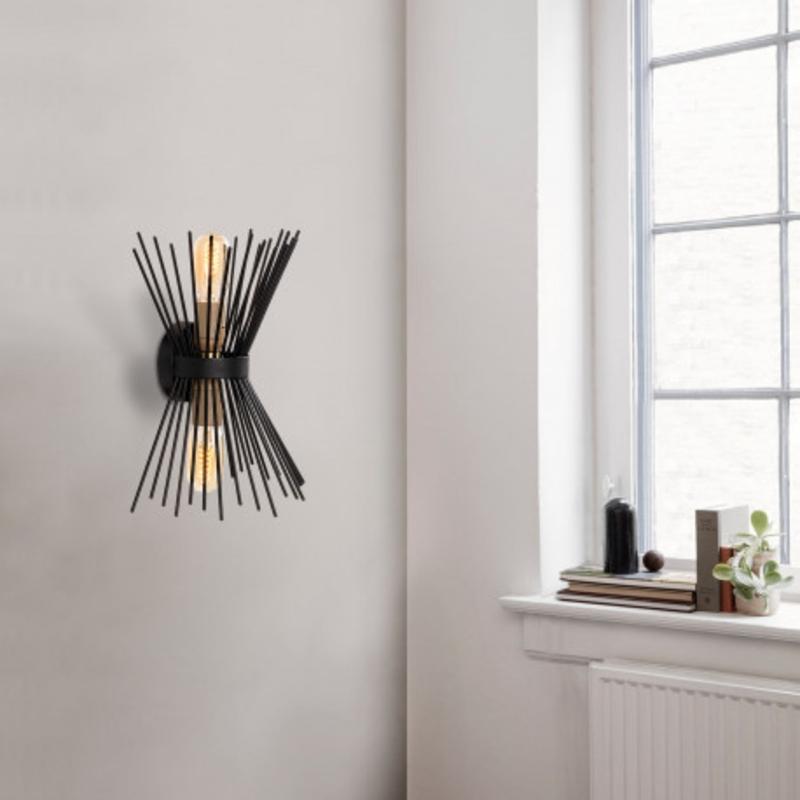 Moderne wandlamp up & down zwart E27 - sfeerfoto
