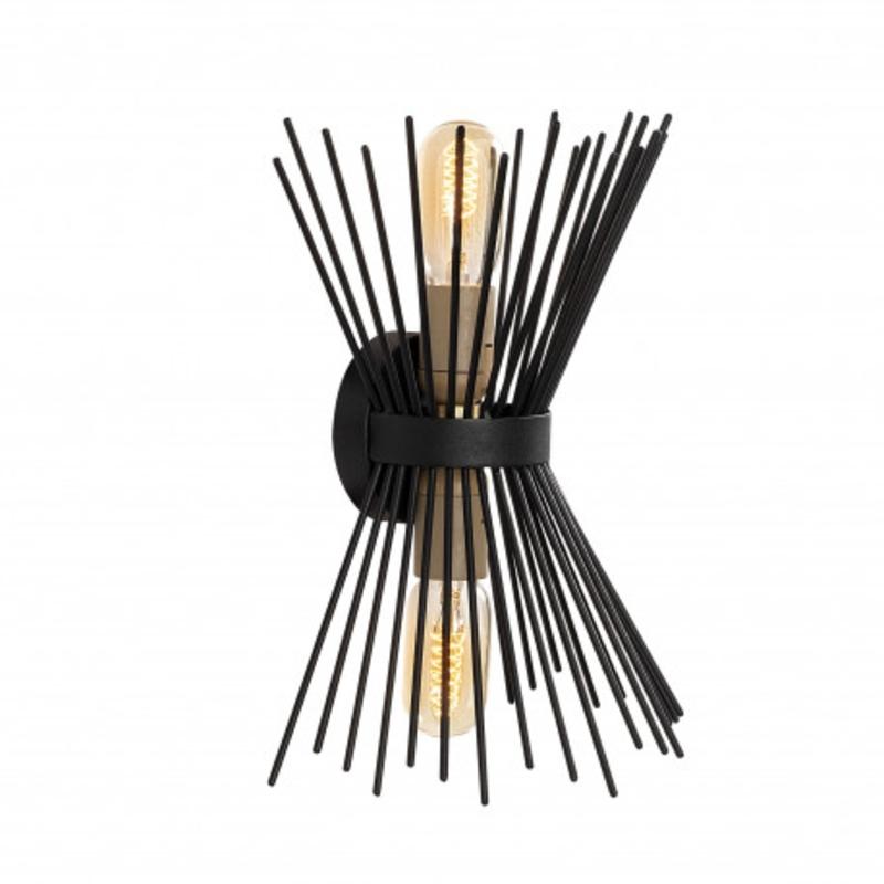 Moderne wandlamp up & down zwart E27